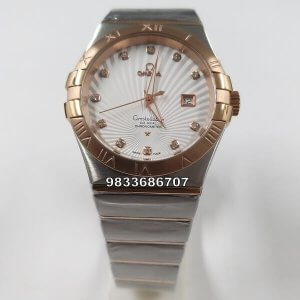 Omega Constellation Double Eagle Rose Gold Bezel Men's Watch