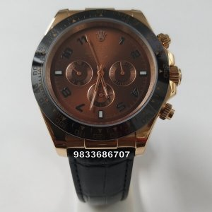 Rolex Daytona Cosmograph Automatic Rose Gold Leather Strap Men's Watch
