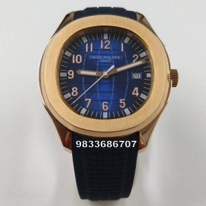 Patek Philippe Aquanaut Rose Gold Blue Dial Swiss Automatic Watch