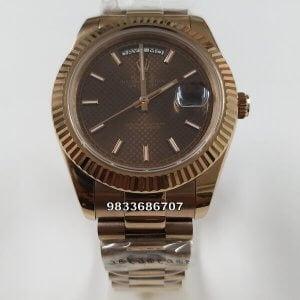 Rolex Day – Date Rose Gold Stick Marking Swiss ETA 7750 Valjoux Movement Automatic Watch