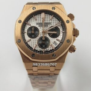 Audemars Piguet Royal Oak Chronograph 45mm Rose Gold White Dial Men's Watch