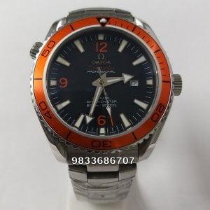 Omega Seamaster Planet Ocean Co-Axial Orange Bezel Swiss Automatic Watch
