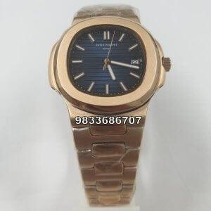 Patek Philippe Nautilus Rose Gold Blue Dial Swiss ETA 7750 Valjoux Automatic Watch