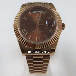 Rolex Day-Date Rose Gold Roman Marking Swiss ETA 7750 Valjoux Movement Automatic Watch