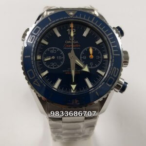 Omega Planet Ocean Chronograph Blue Dial Swiss ETA 2250 Valjoux Automatic Watch