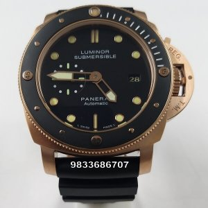 Luminor Panerai Submersible Rose Gold Black Dial Swiss Automatic Watch