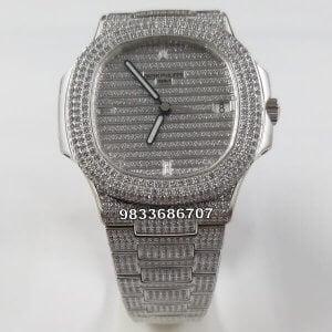 Patek Philippe Nautilus Silver Diamond Swiss ETA Calibre 324 Automatic Watch