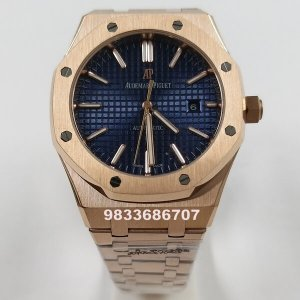 Audemars Piguet Royal Oak Rose Gold Blue Dial Swiss Automatic Watch