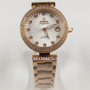Omega De Ville Ladymatic White Dial Rose Gold Women's Watch