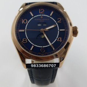 Vacheron Constatin Fifty Six Complete Calender Rose Gold Blue Dial Swiss Automatic Watch