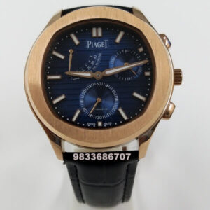 Piaget Guillocha Rose Gold Blue Dial Swiss Automatic Watch
