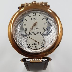Bovet 19 Thirty Fleurier Rose Gold White Dial Watch