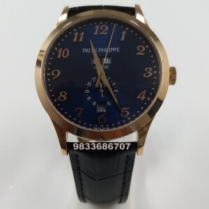 Patek Philippe Annual Calender Moon Phases Blue Dial Swiss Automatic Watch