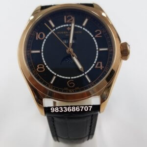 Vacheron Constatin Fifty Six Complete Calender Rose Gold Black Dial Swiss Automatic Watch