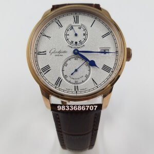 Glashutte Senator Chronometer Rose Gold White Dial Swiss Automatic Watch