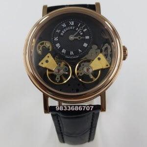 Breguet Dual Tourbillon Rose Gold Black Dial Swiss Automatic Watch