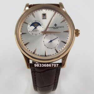 Vacheron Constantin Traditionnelle Moonphase Rose Gold White Dial Swiss Automatic Watch
