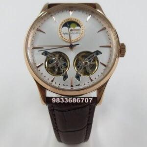 Jaeger Le Coultre Dual Tourbillion White Dial Swiss Automatic Watch