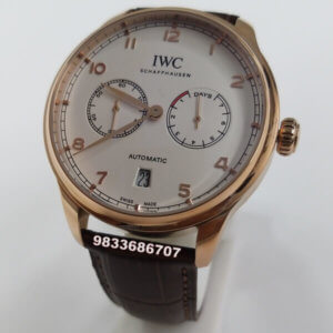 IWC Portuguese Rose Gold White Dial Power Reserve Swiss Automatic Watch
