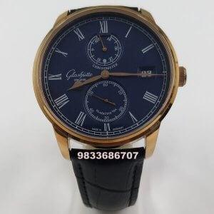 Glashutte Senator Chronometer Rose Gold Blue Dial Swiss Automatic Watch