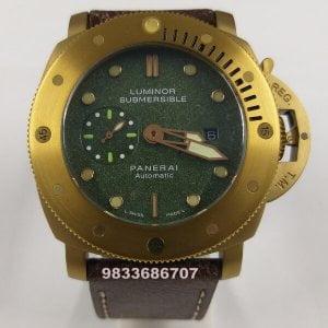 Luminor Panerai Submersible Gold Green Dial Swiss Automatic Watch