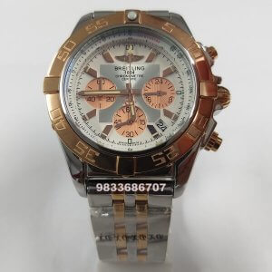Breitling Chronometer Dual Tone White Dial Chronograph Watch
