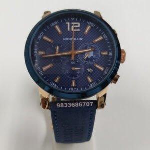 Mont Blanc Leather Blue Men's Watch