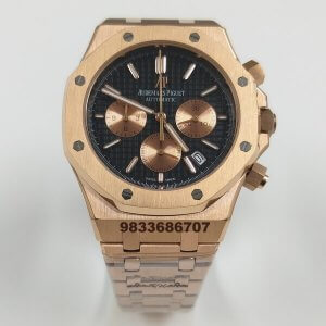 Audemars Piguet Royal Oak Chronograph 45mm Rose Gold Black Dial Men's Watch
