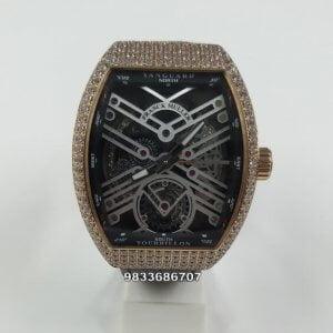 Franck Muller Vanguard Skeleton Tourbillon Rose Gold & Diamond Swiss Automatic Black Leather Watch