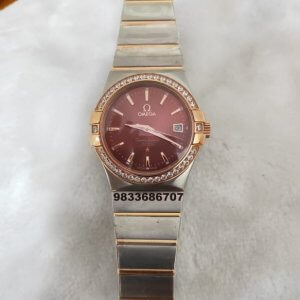 Omega Constellation Stick Marker Diamond Bezel Brown Dial Women's Watch