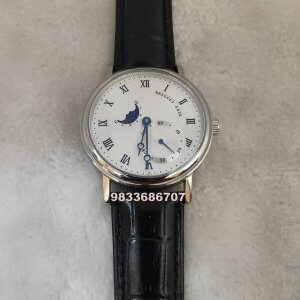 Breguet Classique Silver Moon Phase Swiss Automatic Watch