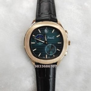 Piaget Blue Guillocha Moon Phase Rose Gold Swiss Automatic Watch