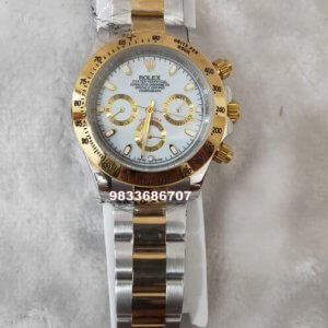 Rolex Cosmograph Daytona Dual Tone White Dial Swiss Automatic Watch
