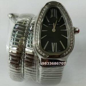 Bvlgari Serpenti Steel Black Dial Diamond Bezel Women's Watch