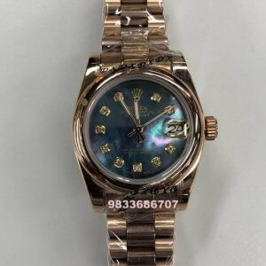 Rolex Date-Just Rose Gold Mother Of Pearl Blue Dial Automatic Women's Watch