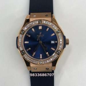 Hublot Classic Fusion Chronograph Blue Dial White Diamond Women's Watch