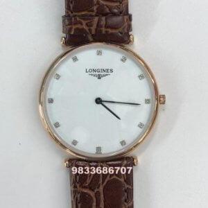 Longines La Grande Classique White Dial Leather Strap Watch