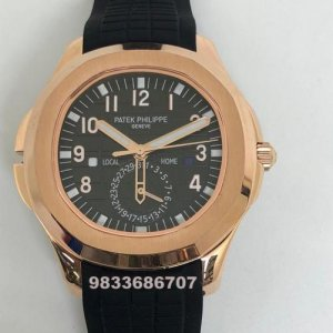 Patek Philippe Aquanaut Black Dial Rubber Strap Swiss Automatic Watch