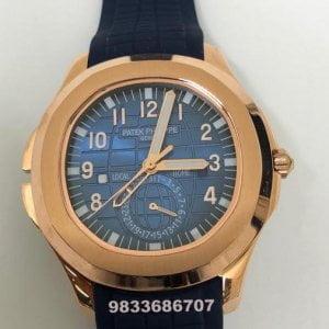 Patek Philippe Aquanaut Blue Dial Rubber Strap Swiss Automatic Watch