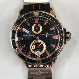 Ulysse Nardin Maxi Marine Diver Black Dial Rose Gold Swiss Automatic Watch