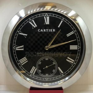 Cartier Rotonde Silver Black Dial Wall Clock
