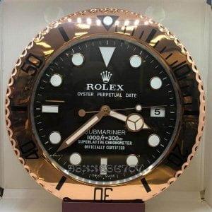 Rolex Submariner Rose Gold Black Dial Wall Clock
