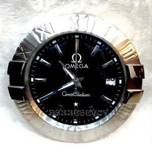 Omega Constellation Silver Black Dial Wall Clock