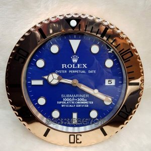 Rolex Submariner Rose Gold Blue Dial Wall Clock