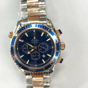 Omega Seamaster Co-Axial Dual Tone Blue Dial Chronograph Watch