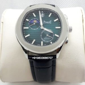 Piaget Blue Guillocha Moon Phase Steel Swiss Automatic Watch