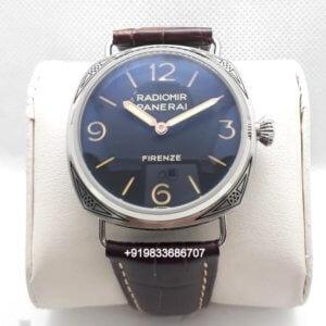 Luminor Panerai Hand Engraved Firenze Brown Leather Strap Swiss Watch