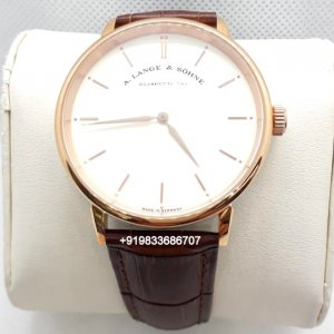 A. Lange & Sohne Saxonia Leather Strap White Dial Automatic Movement Watch