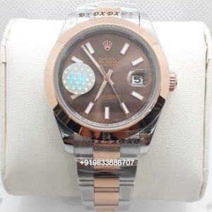 Rolex Date Just Dual Tone Brown Dial Swiss Automatic Watch
