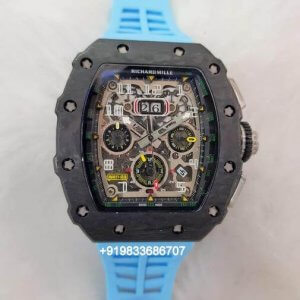 Richard Mille RM 011 Blue Rubber Strap Swiss ETA Automatic Watch